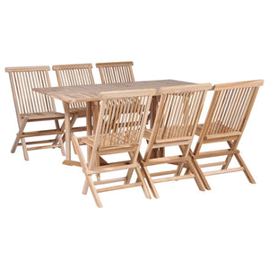 6 Seater Folding Outdoor Dining Set Teak Wood