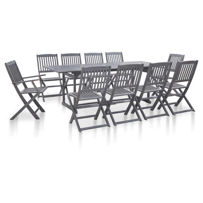 10 Seater Solid Acacia Wood Dining Set Grey