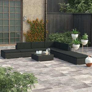 7 Seater All Black Outdoor Set with Coffee Table