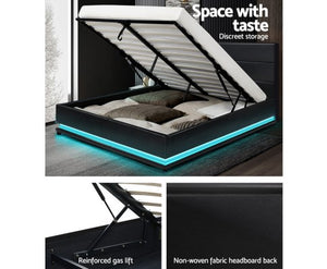 Black Led Light  Bed Frame Modern Style Gas Lift