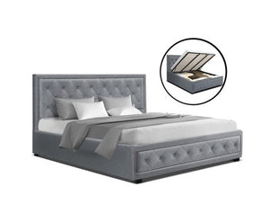 Grey Stylish Fabric Bed Frame