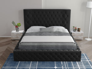 Luxury Xesuper Tufted Fabric Bed Frame Black