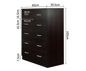 6 Drawer Tall Boy Storage Cabinet