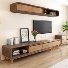 Load image into Gallery viewer, REWEX Premium Walnut Solid Wood Tv Entertainment Unit