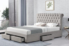 Load image into Gallery viewer, Beautiful Saleena Linen Fabric Bed Frame With Storage Drawer