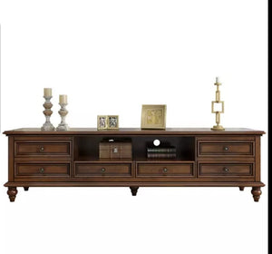 Classical Style Dark Brown Tv Unit