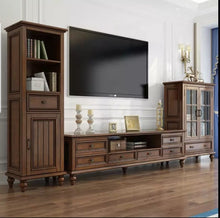 Load image into Gallery viewer, Classical Style Dark Brown Tv Unit