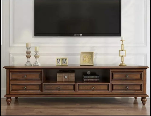 Classical Style Dark Brown Tv Entertainment Tv Unit