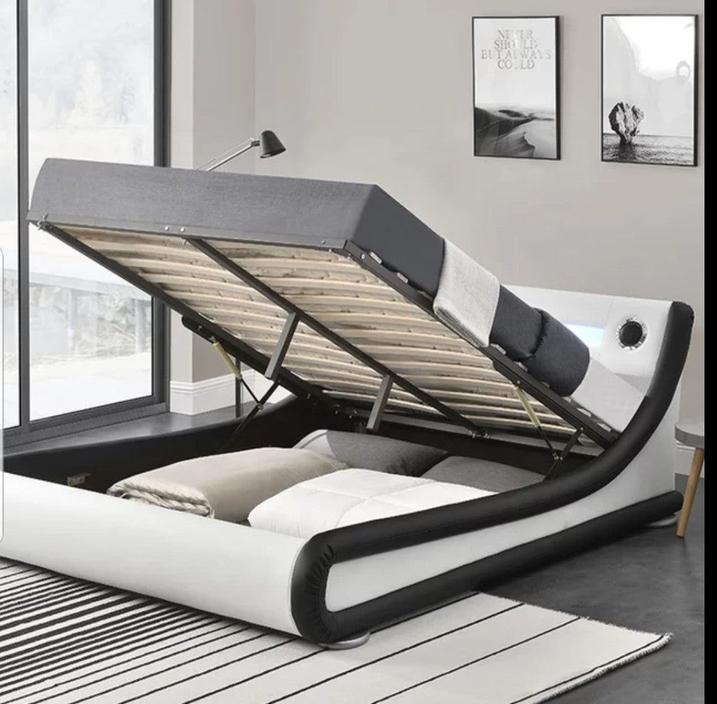 Freena Modern Music Led Light Gas Lift Bed