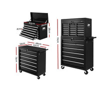 Load image into Gallery viewer, Giantz Tool Box Chest Trolley 16 Drawers Cabinet Cart garage  tool box black