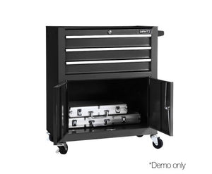 Giantz Tool Box Trolley Cabinet Cart Storage Drawer Black