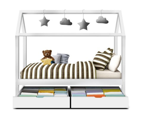 Kids Canopy Bed with Drawers