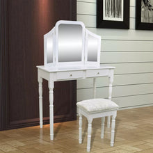 Load image into Gallery viewer, Wooden Dressing Table with Mirror and Stool