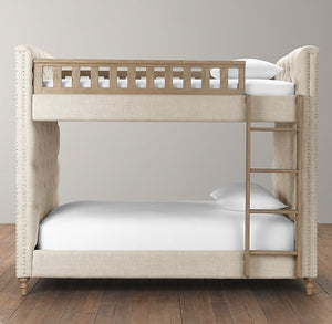 Dasleem Luxurious Tufted Fabric Bunk Bed
