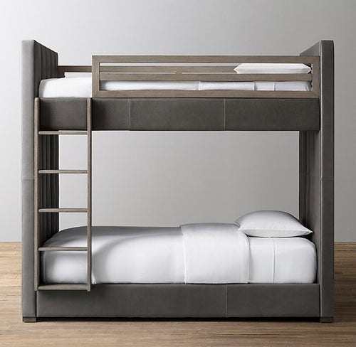 Lavafa Modern Luxurious Tufted Fabric Bunk Beds