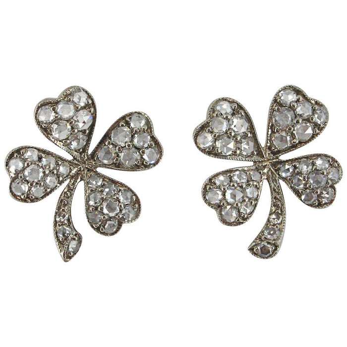 White Diamond 18 Karat White Gold Four-Leaf Clover Stud Earrings