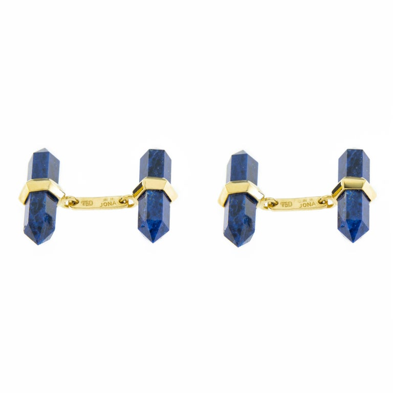 Jona 18 Karat Yellow Gold Lapis Lazuli Prism Bar Cufflinks In New Condition For Sale In Torino IT