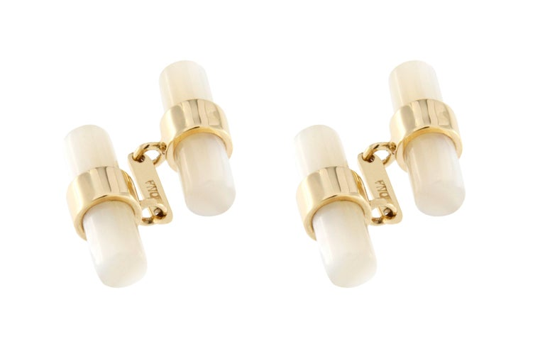Jona 18k Yellow Gold Mother-of-Pearl Bar Cufflinks In New Condition For Sale In Torino IT