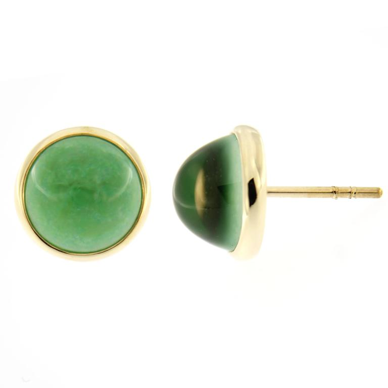 Jona Burmese Jade Quartz Gold Stud Earrings  In New Condition In Torino IT