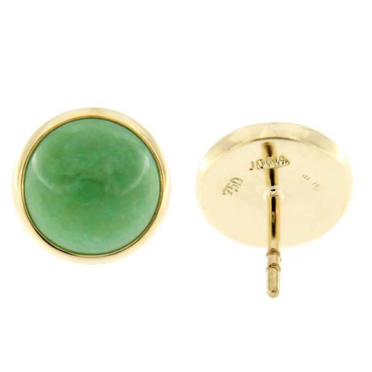 Women's or Men's Jona Burmese Jade Quartz Gold Stud Earrings