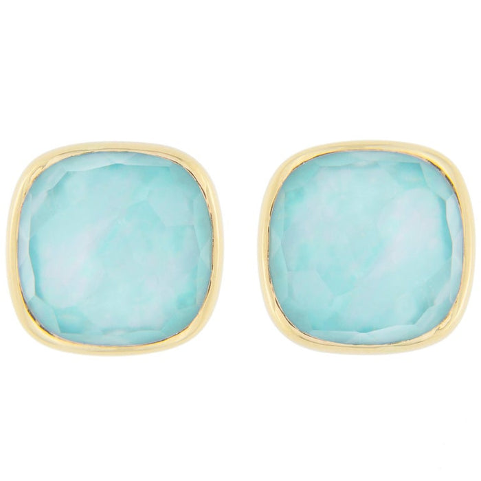 Turquoise Quartz Mother of Pearl 18 Karat Yellow Gold Stud Earrings