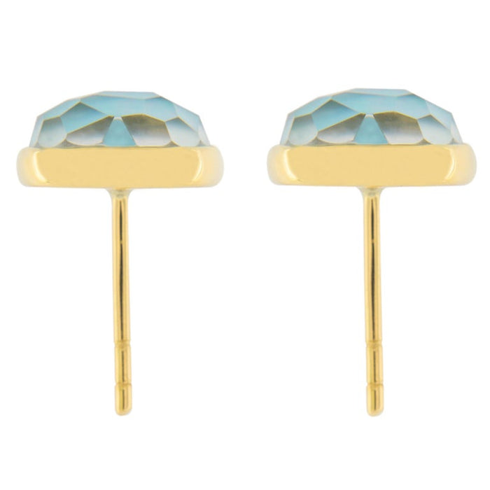 Jona Turquoise Quartz Mother of Pearl 18 Karat Yellow Gold Stud Earrings In New Condition In Torino IT