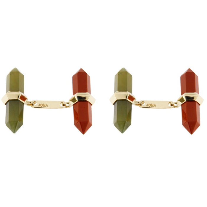 Carnelian Moss Agate Yellow Gold Prism Bar Cufflinks