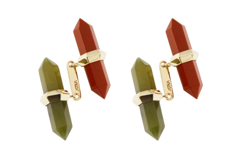 Jona Carnelian Moss Agate Yellow Gold Prism Bar Cufflinks In New Condition For Sale In Torino IT