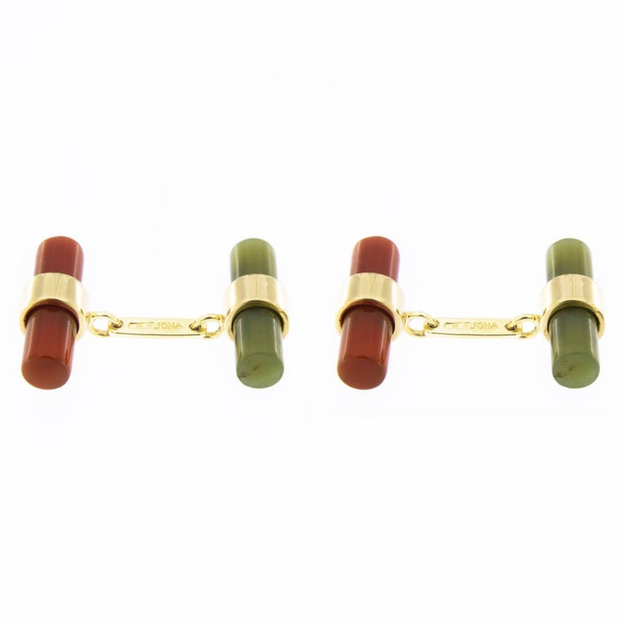 Women's or Men's Jona 18 Karat Yellow Gold Carnelian Moss Agate Cylinder Cufflinks For Sale