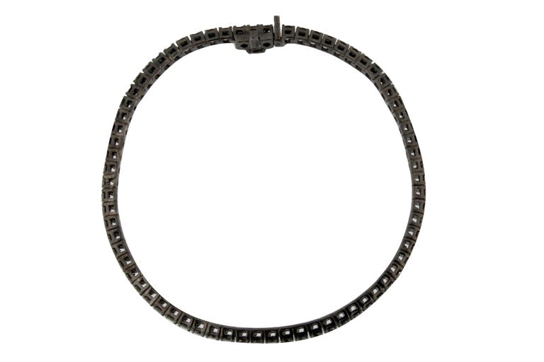 Jona Black Diamond 18 Karat White Gold Black Rhodium Tennis Bracelet In New Condition For Sale In Torino IT