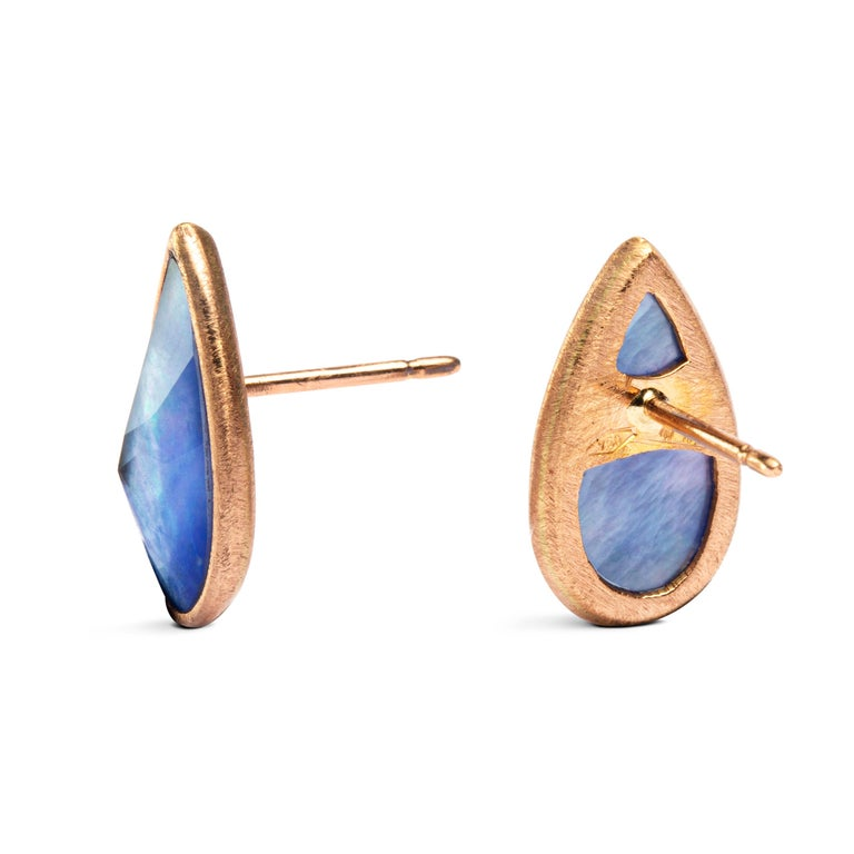 Oval Cut Jona Lapis Quartz Mother of Pearl 18 Karat Rose Gold Earrings For Sale
