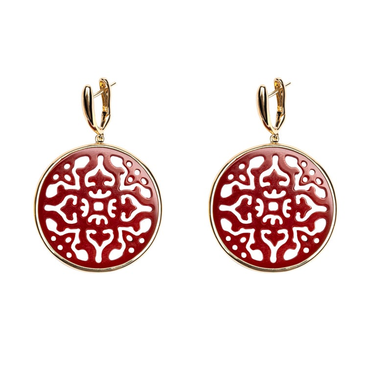 Jona Carved Carnelian 18 Karat Yellow Gold Drop Earrings In New Condition For Sale In Torino IT