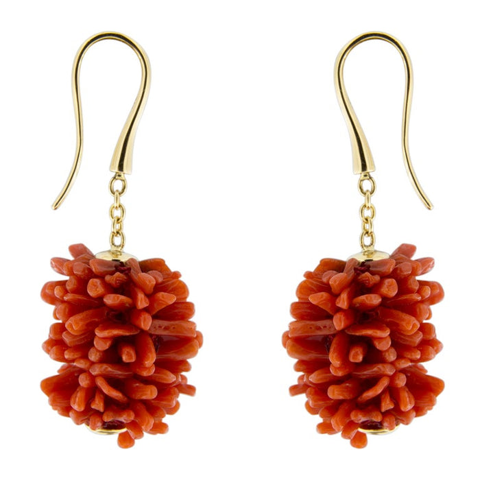 Coral Pompon 18 Karat Yellow Gold Dangle Pendant Earrings