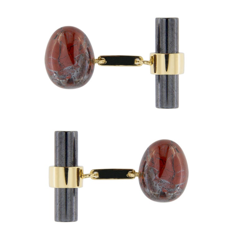 Jona Breciated Jasper Egg And Hematite Cylinder 18 Karat Yellow Gold Cufflinks In New Condition For Sale In Torino IT