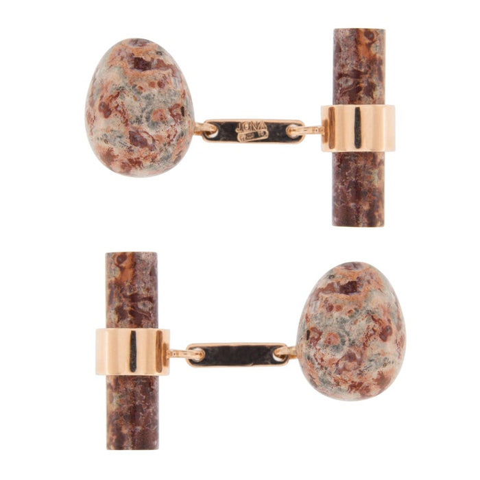 Women's Jona Jasper Egg 18 Karat Rose Gold Cufflinks For Sale