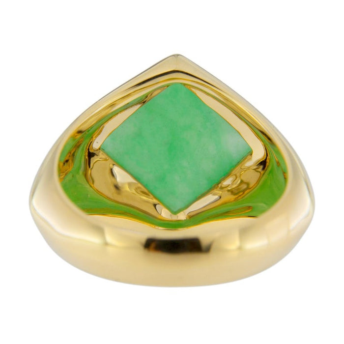 Jadeite Jade 18 Karat Yellow Gold Ring Band