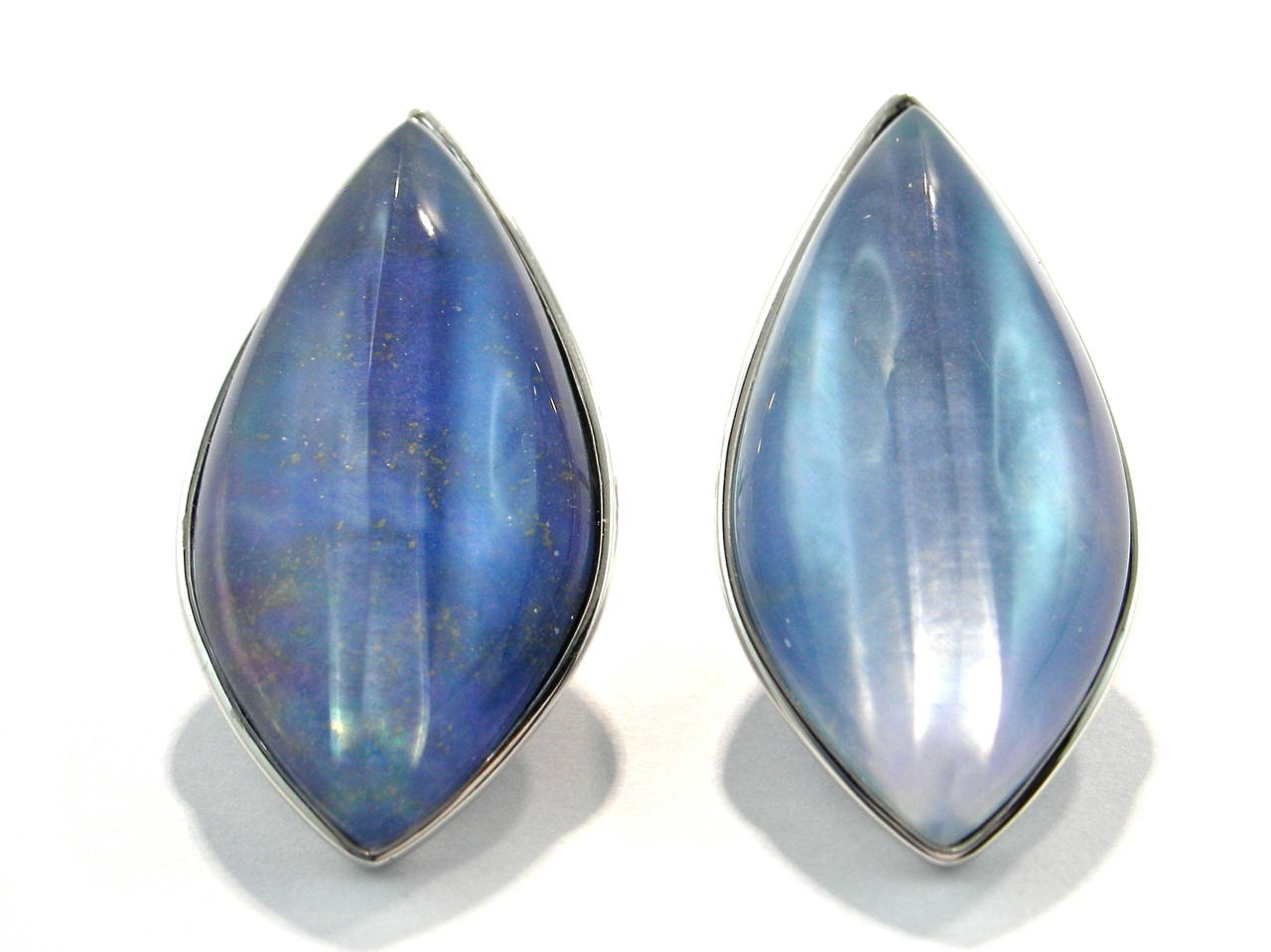 Jona Lapis Lazuli Quartz Mother of Pearl 18 Karat White Gold Stud Earrings For Sale 1