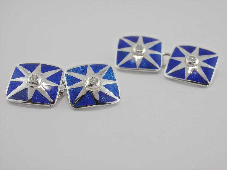 Jona Enamel White Diamond 18 Karat White Gold Cufflinks In New Condition For Sale In Torino IT