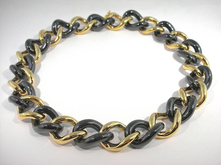 High-Tech Black Ceramic Gold Curb Link Necklace