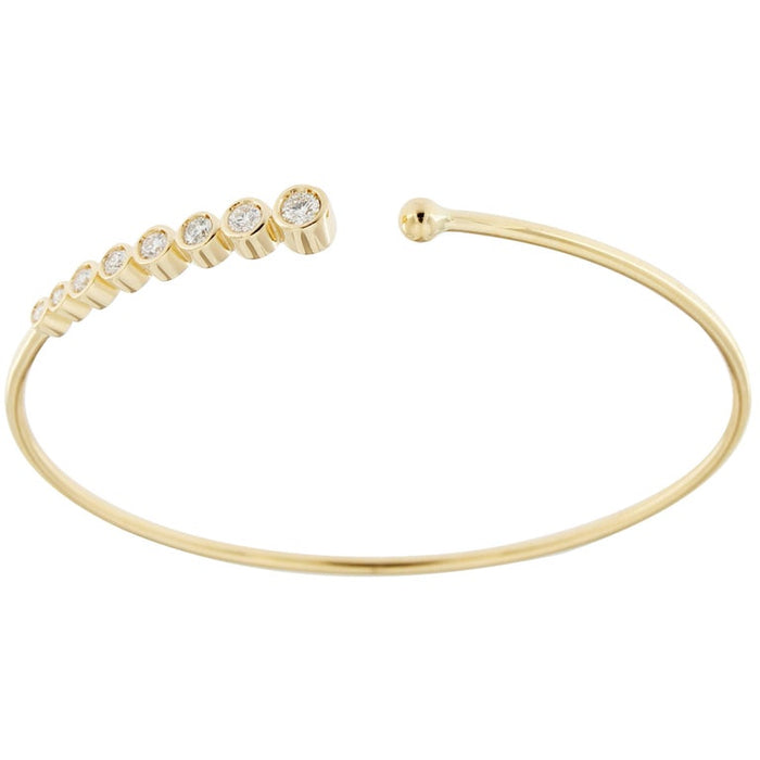 White Diamond 18 Karat Yellow Gold Bangle Bracelet
