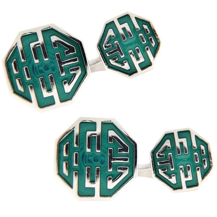 Long and Happy Life Symbol Green Enamel Sterling Silver Cufflinks