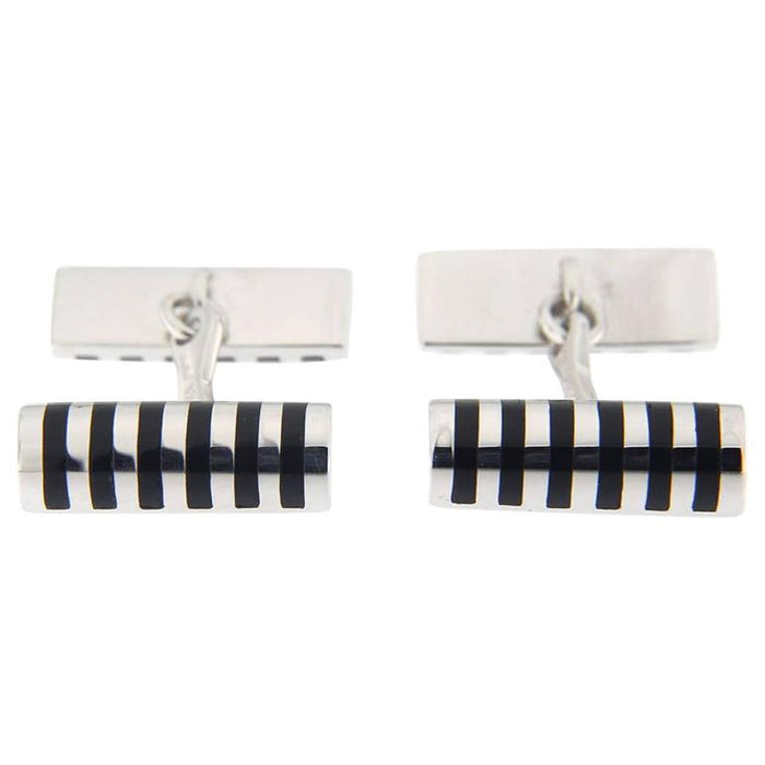 Black Enamel Sterling Silver Cufflinks