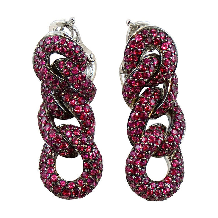 Ruby 18 Karat White Gold Curb Link Chain Earrings