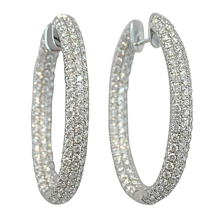 White Diamond 18 Karat White Gold Inside-out Pavé Hoop Earrings