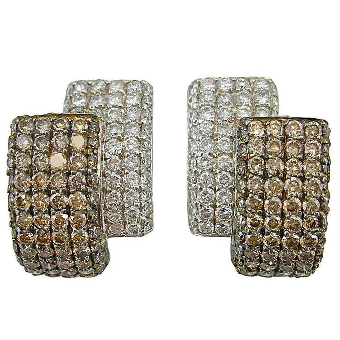 White and Brown Diamond 18 Karat White Gold Ear Clips