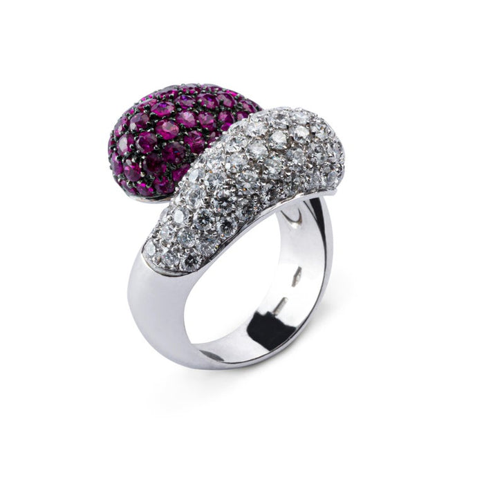 Ruby White Diamond 18 Karat White Gold Crossover Dome Cocktail Ring
