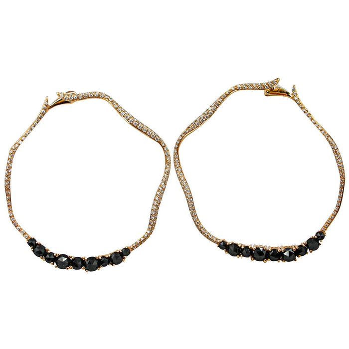 Jona design collection hand crafted in Italy hoop earrings in 18 karat rose gold set with 1 carat of white diamonds G color VVS1 clarity and 3.37 carats of rose cut black spinels on flexible hinged set. Dimensions : H 1.81 in x W 1.73 in x D