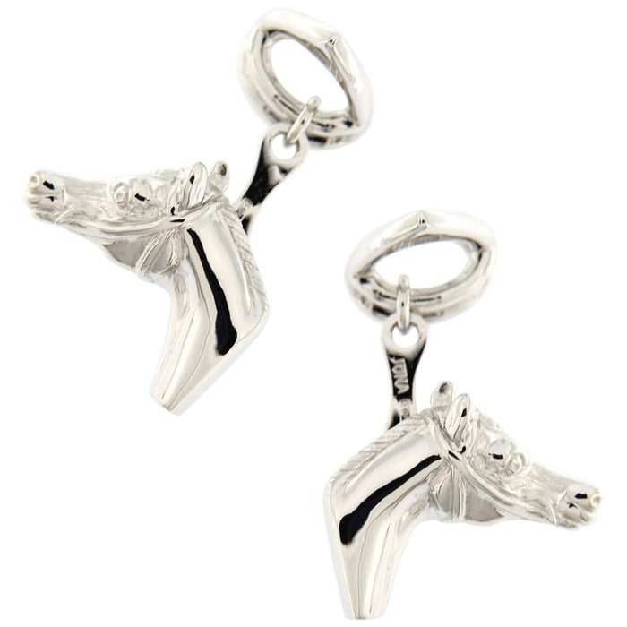 Sterling Silver Horse Head and Stirrup Equestrian Cufflinks