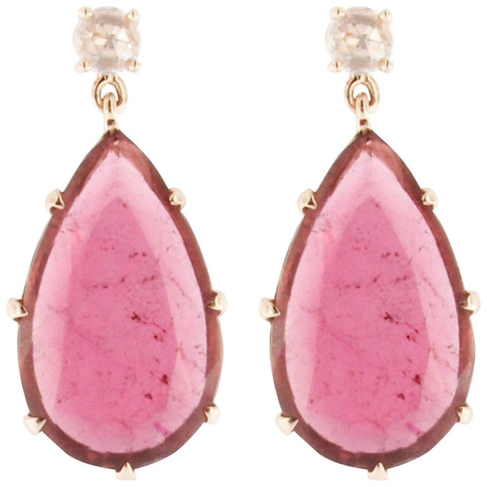 Rubellite Diamond 18 Karat Rose Gold Drop Pendant Earrings