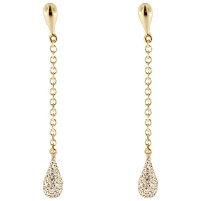 White Diamond 18 Karat Yellow Gold Drop Earrings